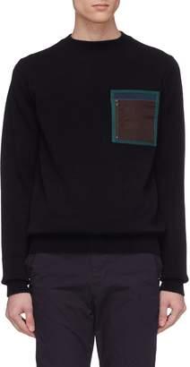 Kolor Contrast chest pocket wool sweater