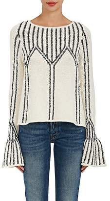 Ulla Johnson Women's Beatriz Cotton Bell-Sleeve Sweater $415 thestylecure.com