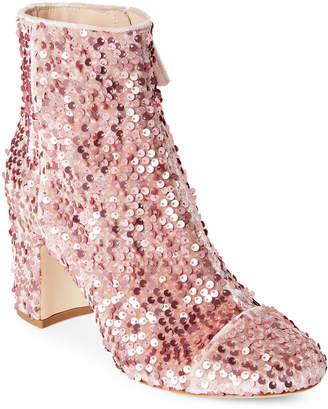 Polly Plume Baby Pink Alley Sequin Velvet Block Heel Ankle Booties