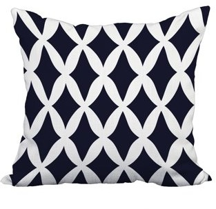 Simply Daisy 20 x 20 Inch Navy Blue Trellis Print Decorative Polyester Throw Pillow with a Linen Texture
