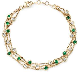 Bloomingdale's Emerald & Diamond Station Bracelet in 18K Yellow Gold - 100% Exclusive
