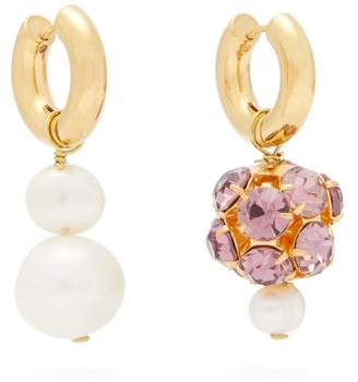 Crystal Pearl Timeless Pearly - Mismatch Crystal & Pearl Gold Plated Earrings - Womens - Pearl