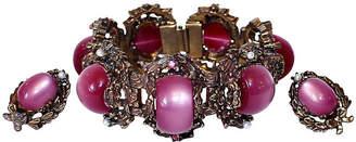 One Kings Lane Vintage Fuchsia Thermoset Bracelet & Earrings