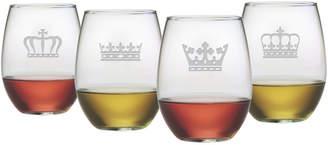 Susquehanna Glass Crowns Set Of 4 21Oz Stemless Glasses