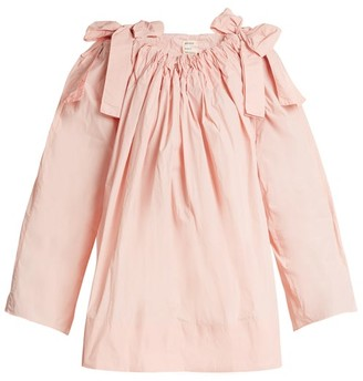 Maison Rabih Kayrouz Scoop Neck Bow Detail Paper Taffeta Top - Womens - Pink