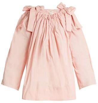 Maison Rabih Kayrouz Scoop Neck Bow Detail Paper Taffeta Top - Womens - Pink