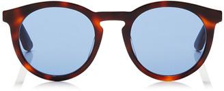 Jimmy Choo ALBERT Blue Avio Lenses and Havana Black Acetate Oval Frame Sunglasses