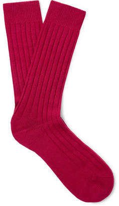 Pantherella Ribbed Cashmere-Blend Socks - Men - Pink