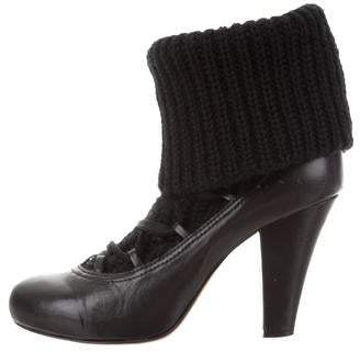 See by Chloe Leather Knit-Accented Boots