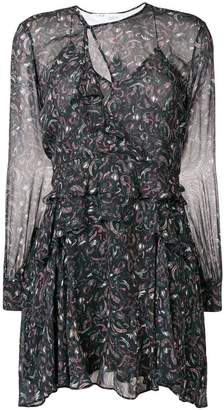IRO printed ruffle mini dress