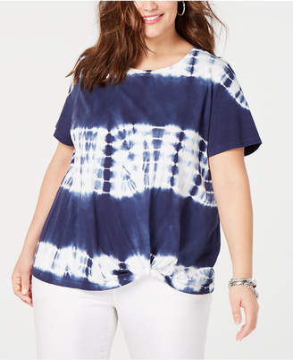 INC International Concepts I.n.c. Plus Size Cotton Tie-Dye Twist-Front T-Shirt