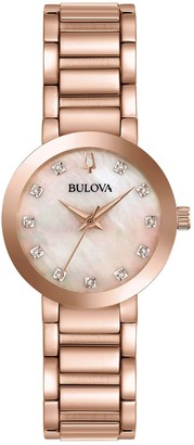 Bulova Women's Rosetone Diamond Accent BraceletWatch