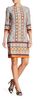 London Times Printed Flower Disk Shift Dress
