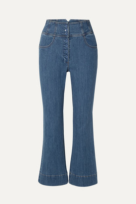 Ulla Johnson Ellis Cropped High-rise Flared Jeans - Mid denim