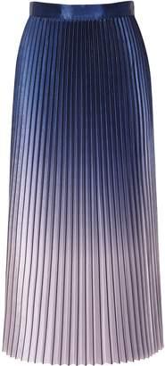 Reiss Anna - Metallic Ombre Pleated Midi Skirt in Blue
