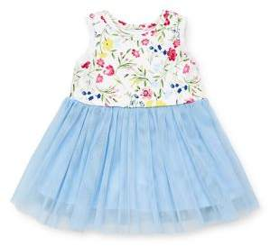 Little Me Baby Girl's Watercolor Floral Mesh Dress