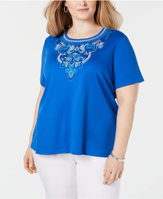 3c22fcb609 Alfred Dunner Plus Size Waikiki Embroidered Top