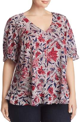 Lucky Brand Plus Floral-Print Ruffle Top