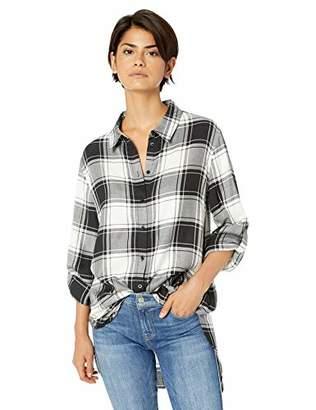 Calvin Klein Women's Boyfriend Tunic Plaid Roll Sleeve