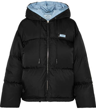 Prada Hooded Quilted Shell Down Jacket - Black