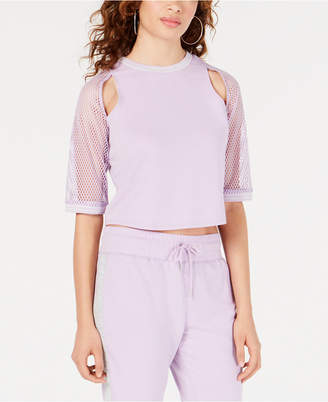 Material Girl Juniors' Cutout Mesh-Sleeve Top