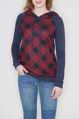 Ami 12pm By Mon Quilted Checkered Hoodie