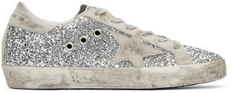 Golden Goose SSENSE Exclusive Silver Glitter Superstar Sneakers