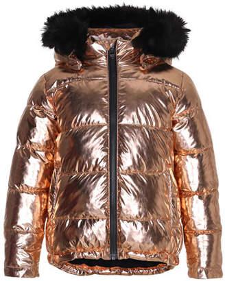 Molo Hedia Metallic Puffer Jacket w/ Faux-Fur Trimmed Hood, Size 4-12