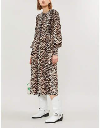 Ganni Black and Brown All-Over Leopard Print Mullin Georgette Dress