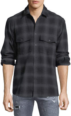 Marcelo Burlon County of Milan Sham Jaguar-Print Flannel Plaid Shirt