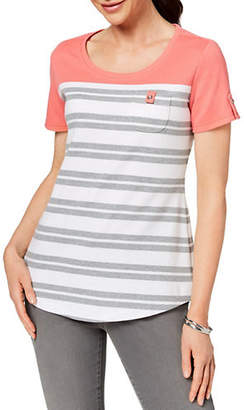 Karen Scott Petite Striped Patch-Pocket Top