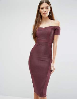 ASOS Bandage Off The Shoulder Bardot Midi Bodycon Dress $61 thestylecure.com