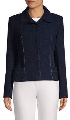 Carolina Herrera Textured Metallic Trim Jacket