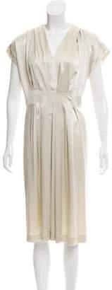 Pas De Calais Pleated Silk Dress
