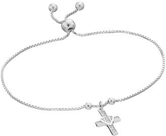 Kohl's Sterling Silver 1/10 Carat T.W. Diamond Cross Charm Lariat Bracelet