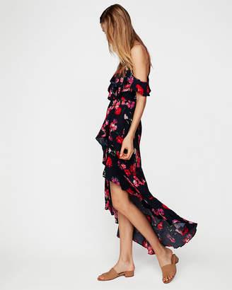Express Petite Floral Ruffle Wrap Cold Shoulder Maxi Dress