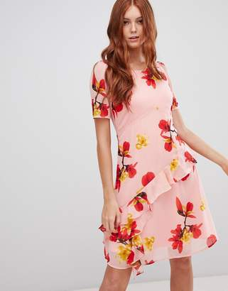 Vero Moda floral ruffle panel skater dress