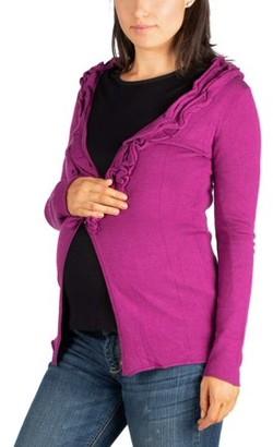 24/7 Comfort Apparel Maternity Magenta Long Sleeve Ruffle Cardigan Sweater