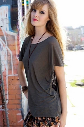 Blue Life Lace Departure Top in Army
