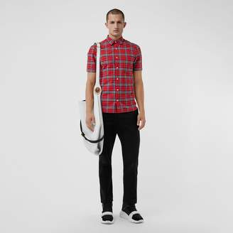 Burberry Short-sleeve Check Cotton Shirt, Red