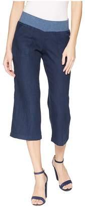 Allen Allen Crop Linen Pant Rib Waist Women's Casual Pants
