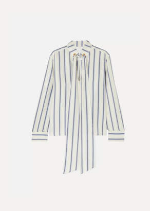 Chloé Pussy-bow Striped Silk-georgette Blouse - White