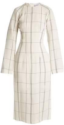 Raey Darted Long Sleeved Checked Twill Dress - Womens - White