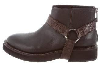 Brunello Cucinelli Leather Harness Ankle Boots w/ Tags