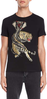 Heads Or Tails Black Wild Animal Rhinestone Tee