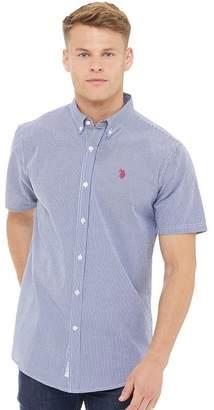 U.S. Polo Assn. Mens Cross Short Sleeve Gingham Shirt Medieval Blue