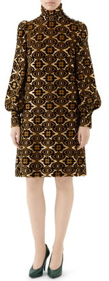 Gucci Metallic Chenille Jacquard Long Sleeve Dress