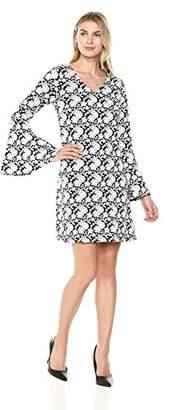 Robbie Bee Women's Long Sleeve Vneck Shift Dress