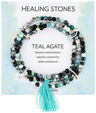 Silver Plated Genuine Agate Bead with Tassel Wrap Bracelet