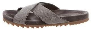 Brunello Cucinelli Monili-Embellished Slide Sandals